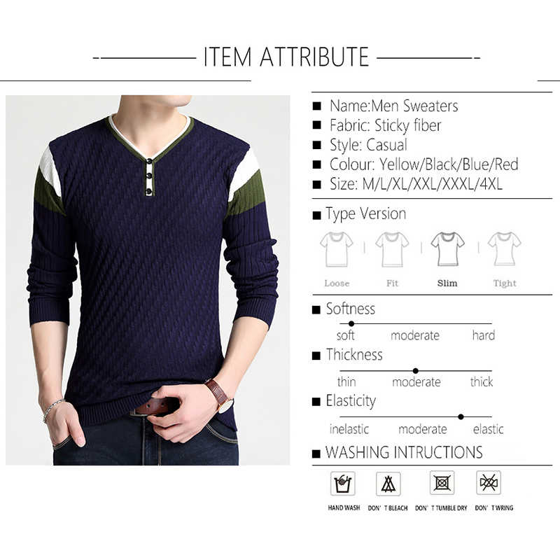 BROWON 브랜드 스웨터 가을 남성 단추 V-칼라 슬림 스웨터 남성 탄성 니트 스웨터 니트 풀오버 남성 니트