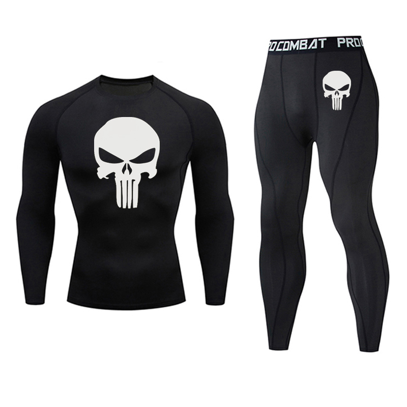 2020 New Suit Men Rash Guard Kit Long Sleeve T-Shirt Trousers MMA Compressed Clothing Thermal Underwear Men Sports Underwear 3XL
