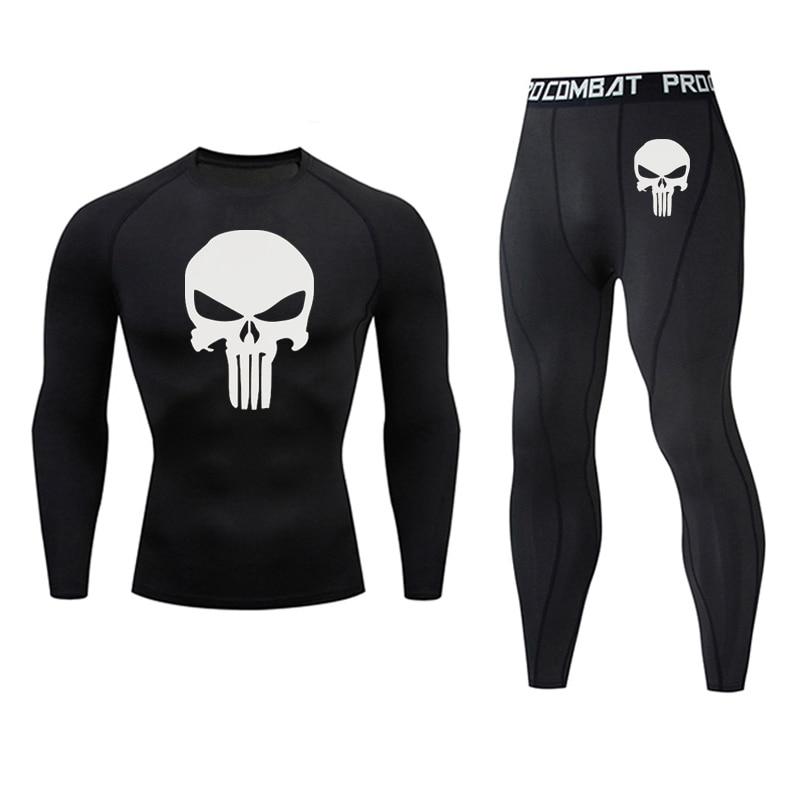 2020 New Suit Men Rash Guard Kit Long Sleeve T-Shirt Trousers MMA Compressed Clothing Thermal Underwear Men Sports Underwear 3XL