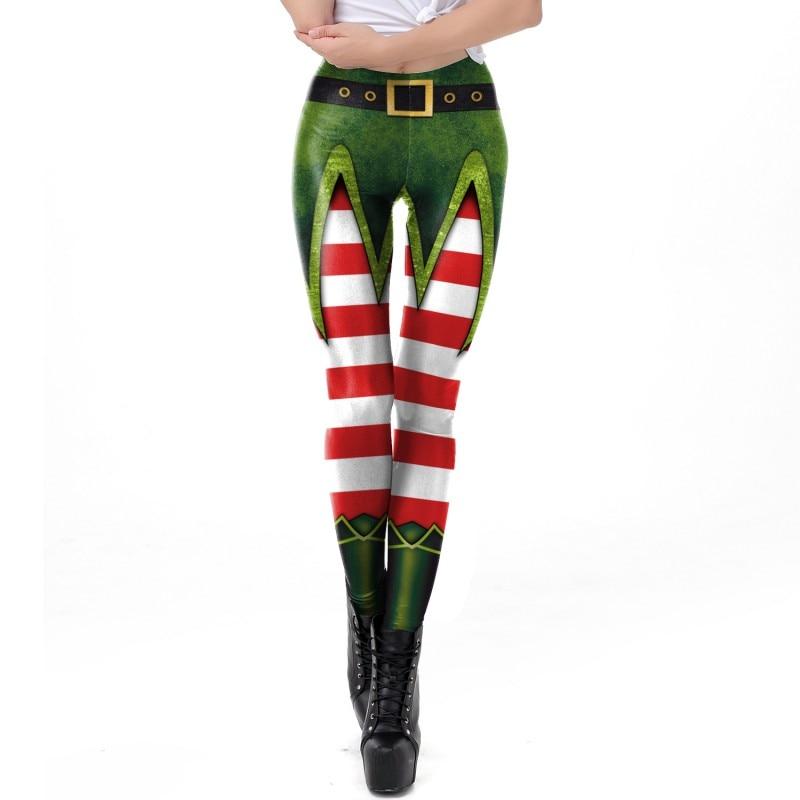 Fashion Christmas Fitness Stretch Leggings 3D Christmas Digital Print Leggings Stretch Casual Pants