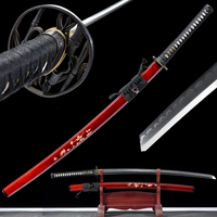 Grade A Handmade Japanese Sword Katana T10 Steel Clay Tempered Red Scabbard Real Shells Full Tang Sharpness Ready For Cutting