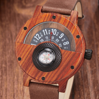 Creative Wooden Watch Men Wrist Watches Real Solid Natural Walnut Wood Watches Rosewood Male Turntable Compass Wristwatch Clock wood business watches with waterproof luminous clock bewell men wooden wristwatch for male watch your family christmas gift 146a