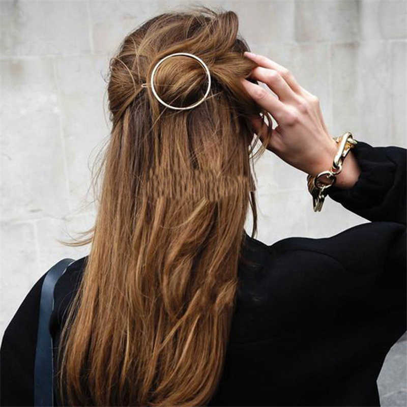 Moda mulher acessórios de cabelo triângulo grampo de cabelo pino metal liga geométrica hairband lua círculo hairgrip barrette meninas titular