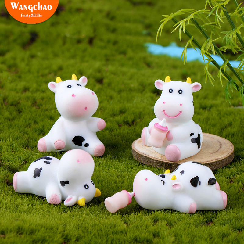 Astounding 8Pcs Set Cute Dairy Cow Milk Bottle Happy Birthday Cake Topper Funny Birthday Cards Online Overcheapnameinfo
