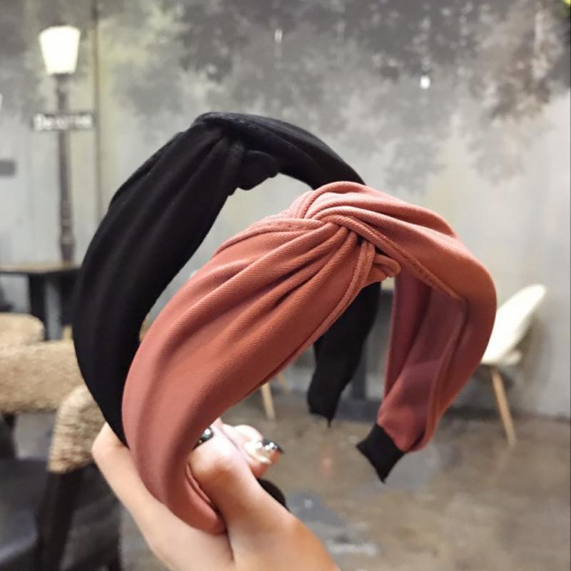 2021 Non slip Resilience Retro Solid Wide Headband Hair Band Hair Hoop Bezel Women Girls Hairbands Hair Accessories Headwear
