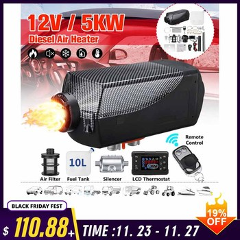 12V 5000W 5KW LCD Monitor Air Diesel Fuel Heater Car Heater With Silencer for RV Car Truck Motor Home Boat Bus Motorhome car autonomous heater 12v 24v 5kw diesel air heater parking fuel heater for trucks boat bus auxiliary heater in electric heaters