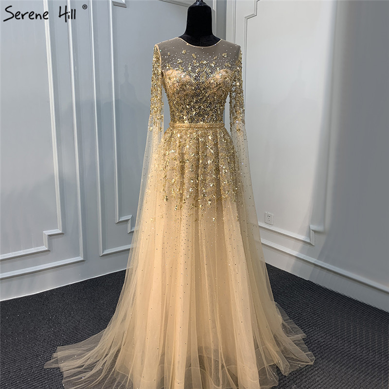Evening-Dresses Cap-Sleeves Crystal Serene Hill Formal-Gown Sequins Gold Long Luxury