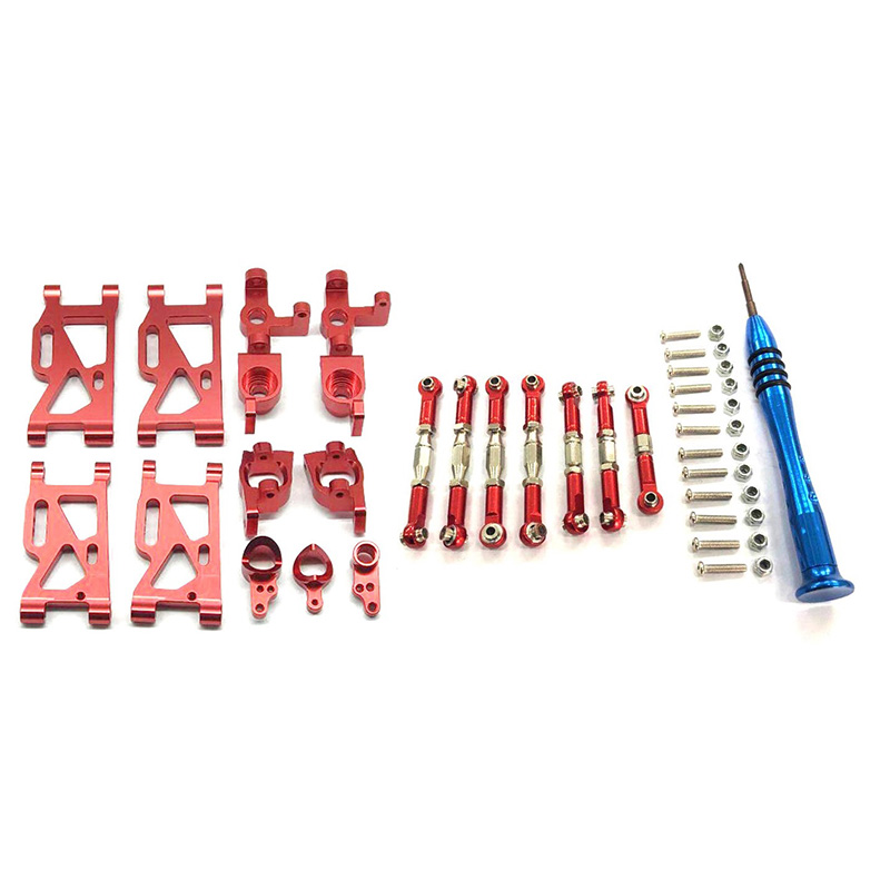 for WLtoys 1:14 144001 RC Car Upgrade Parts Metal Steering Swing Arm Base C Rear Hub Seat Servo Pull Rod,Red
