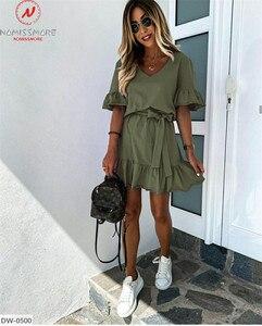 Модное женское летнее однотонное платье-трапеция, дизайнерское облегающее мини-платье с оборками и поясом, V-образным вырезом, рукавом до локтя, высокой талией