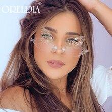 2020 neue Mode Randlose Cat Eye Sonnenbrille Frauen Vintage Kühlen Gradienten Libelle Steampunk Sonnenbrille Für Weibliche Unise