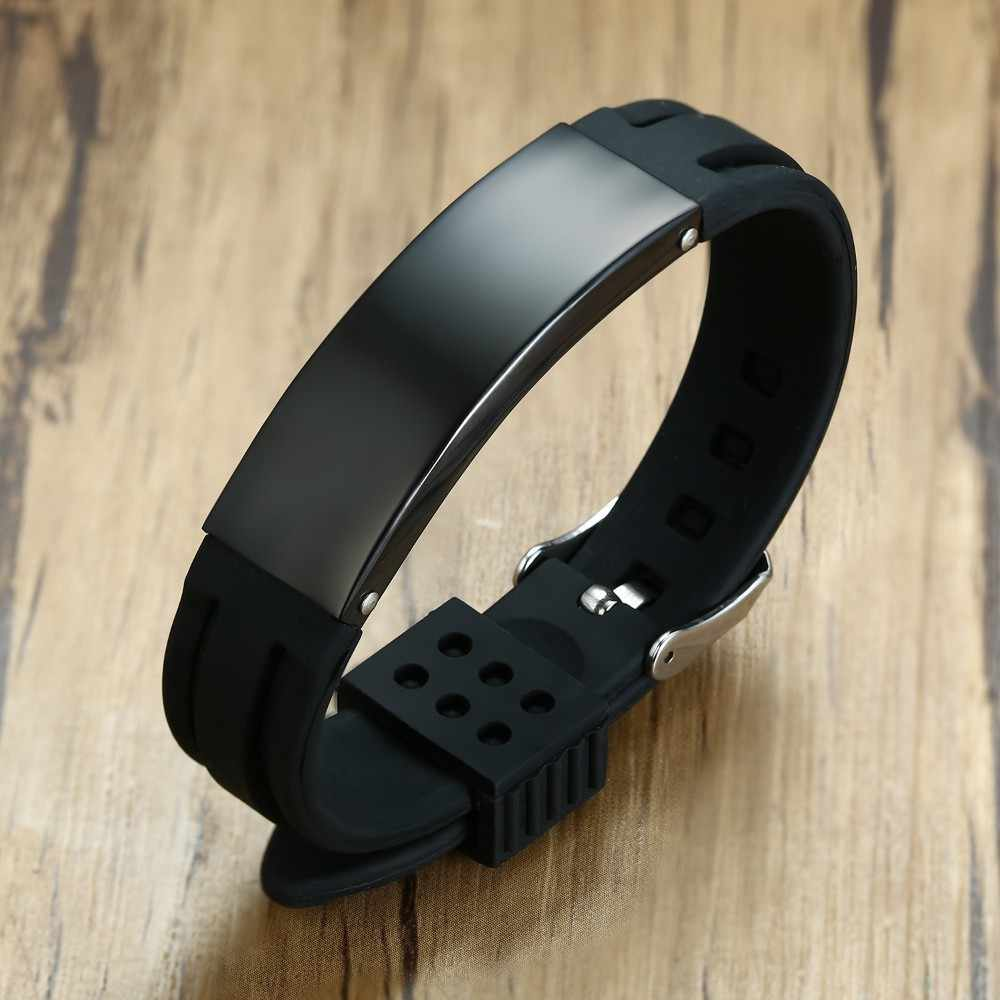 Custom Men's Black Stainless Steel Silicone Rubber Bracelets Pulsera Male Watch Brands Jewelry Adjustable Length