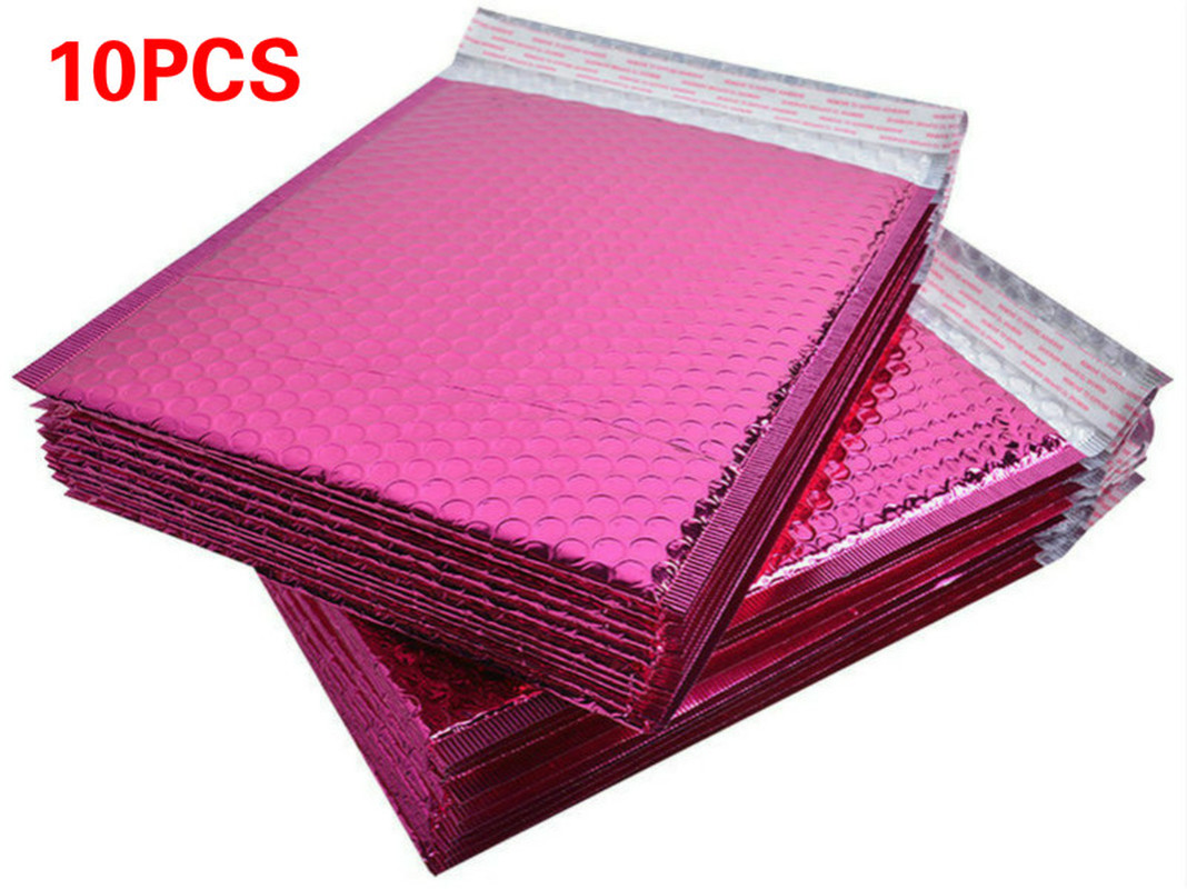 10pcs Usable Space 15X13+4cm Rose Red Envelopes Padded Mailing Bag Self Sealing Poly Bubble Mailer  Christmas Package Gift Bags