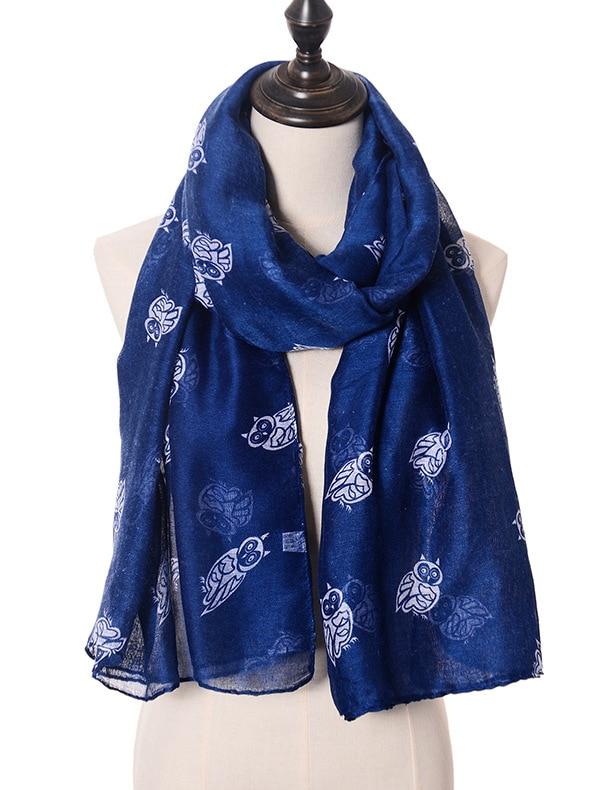 2015 nové módní roztomilé sovy tisk šátky šátky ženy dlouhé zvířecí šátek zábal hidžáb 7 barev doprava zdarma