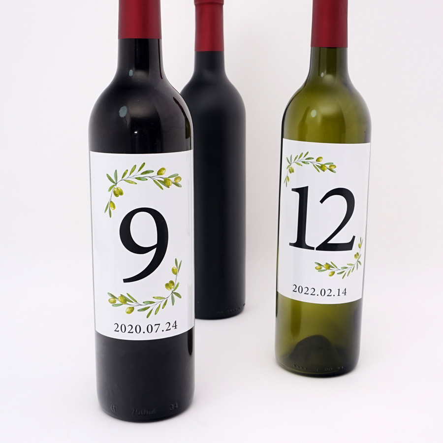9x12.7 cm Wine Bottle Labels Sticker for Wedding Party Custom Table Number Birthday Anniversary Event Date Bottle Decor