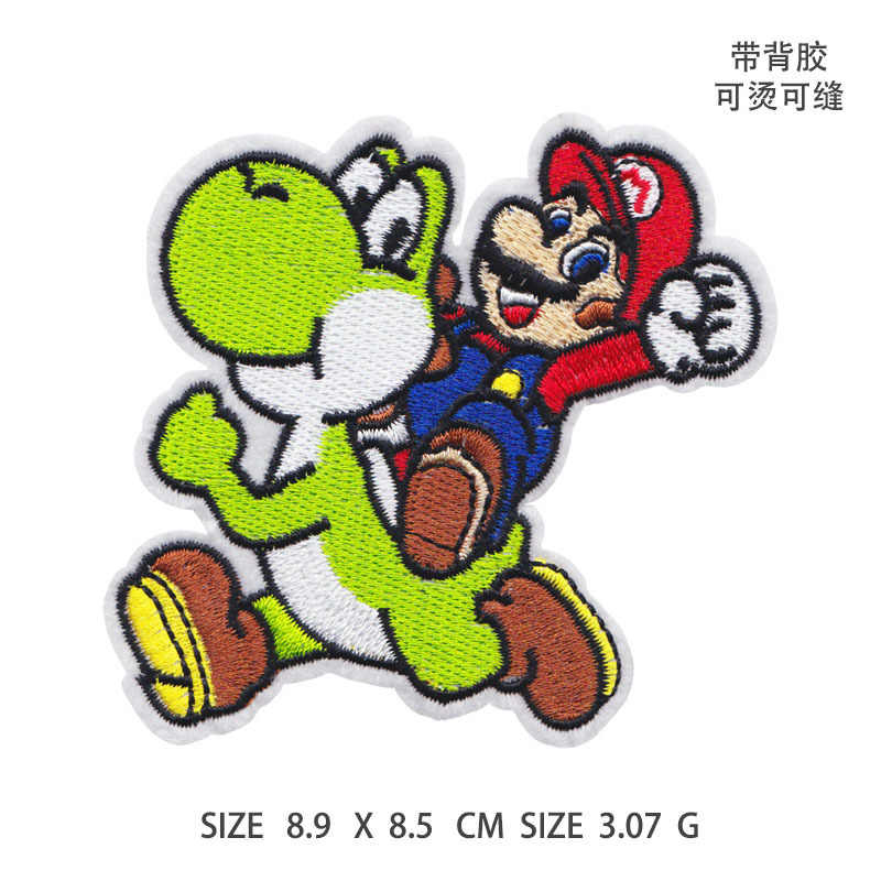 1PCS น่ารัก Super Mario พร้อม Yoshi ไดโนเสาร์ไอคอนความร้อนสติกเกอร์เหล็กบน Patch เกม Thermal Transfer Applique
