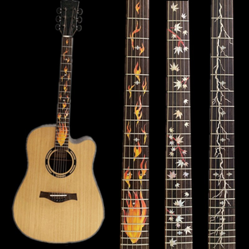 28 Styles Cross Inlay Decals Fretboard Sticker For Electric Acoustic Guitar Bass Ultra Thin Sticker Ukulele Guitarra Accessories