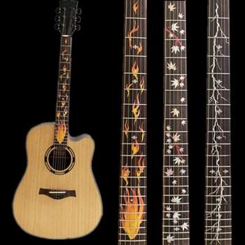 28 стила кръстосани инкрустационни стикери гриф стикер за електрическа акустична китара бас ултра тънък стикер укулеле китара