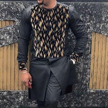 Moroccan Caftan 2021 Men Printed Dubai T-shirt Fashion Kaftan Long Sleeve African Dashiki Casual Men T Shirt 3XL Tops Black Spring Fashion Tee 1