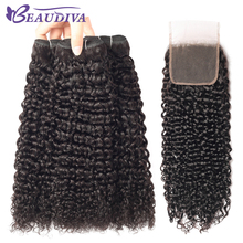 Beaudiva Brazilian Kinky Curly Human Hair Bundles With Closure 4 Bundles Hair Weave With Closure Free Part Remy Hair Bundle