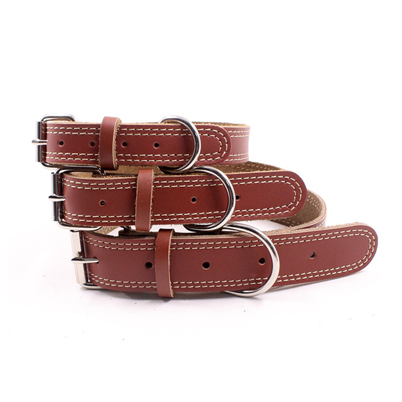 1 Piece Genuine Leather Durable Pet Dog Collar Leather Puppy Cat Necklace for Small Medium Large Dog Chihuahua Collars