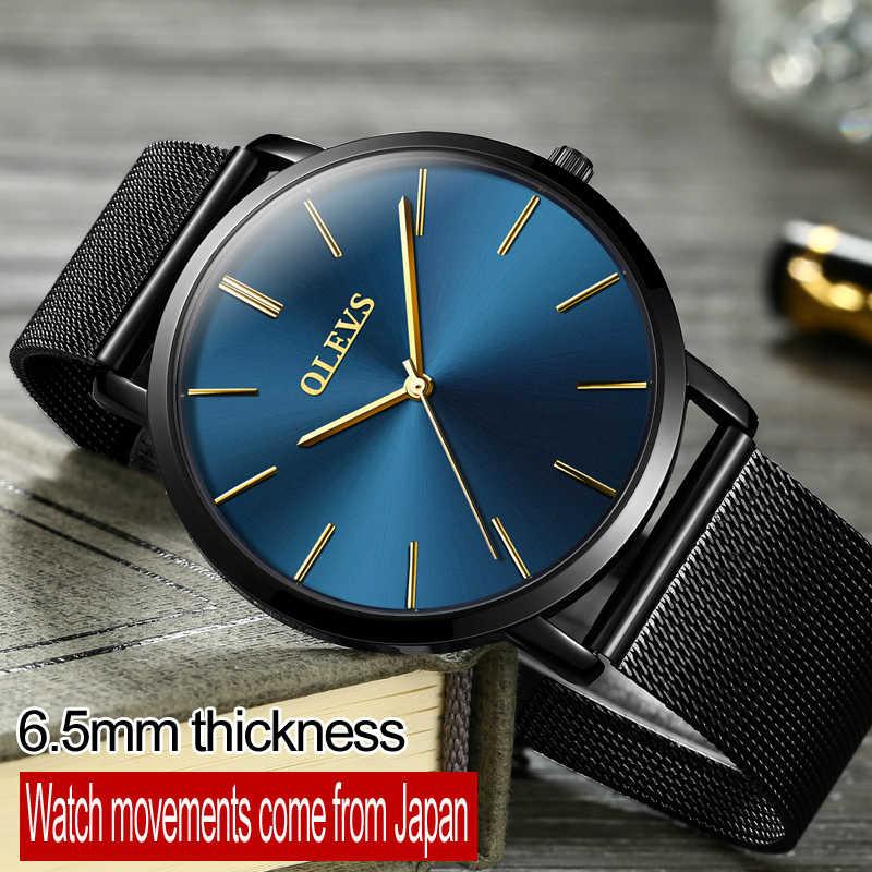 Marca superior ultrafinos design à prova dwaterproof água relógios de negócios para o homem moda malha aço cinta relógio de pulso de quartzo masculino