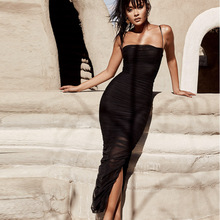 Sexy Bodycon Dress Pleated Little Black Slit Spaghetti Straps Bandage Evening Party Club Night wear Vestidos MS-506