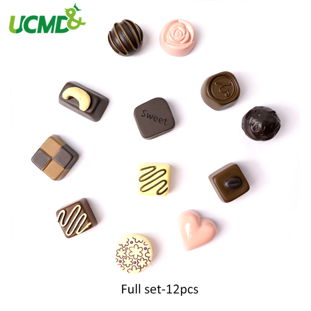 12pcs 3D Creative Chocolate Refrigerator Sticker Simulation Food Message Memo File Fridge Whiteboard Magnet Home Decor Stickers