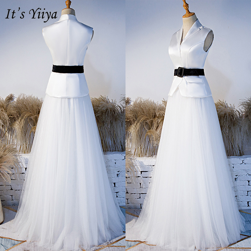 It's Yiiya Evening Dress 2019 White Sleeveless Elegant Sashes A-Line Floor Length Dresses Women Party Long Formal Gowns E1008