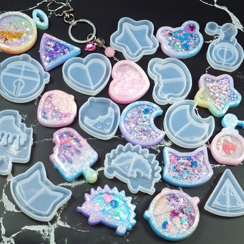 Popular1PC Cute Key Chain Shaker Molds Jewelry Craft Molds Silicone Jewelry Accessories DIY Craft Molds