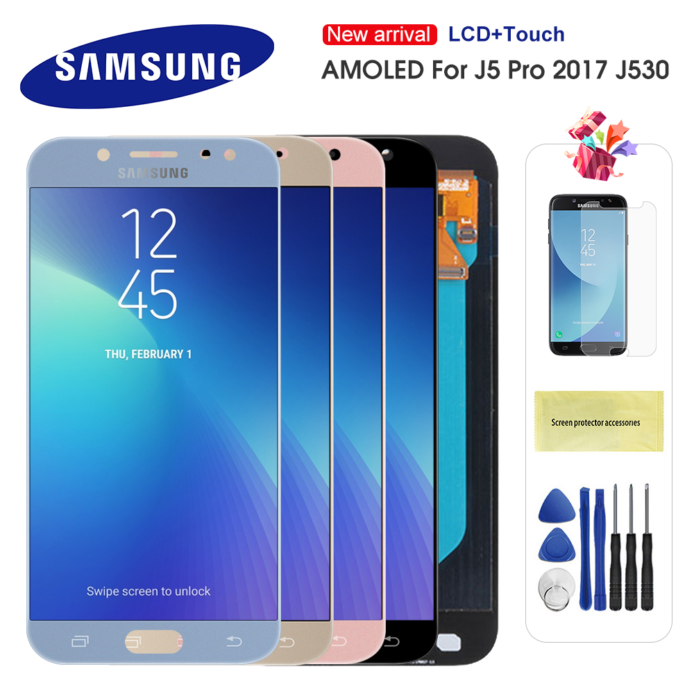 <font><b>Original</b></font> LCD For Samsung Galaxy <font><b>J5</b></font> 2017 J530 J530F LCD <font><b>Display</b></font> Touch Screen Digitizer Assembly lcd for <font><b>J5</b></font> <font><b>Pro</b></font> 2017 <font><b>AMOLED</b></font> LCD image