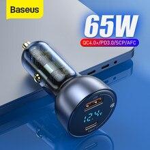 Chargeur de voiture Baseus 65W Charge rapide 4.0 3.0 chargeur de téléphone USB pour huawei SCP QC4.0 QC3.0 Type C PD chargeur de Charge rapide dans la voiture