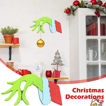 Christmas Thief Hand Cut Out Christmas Thief Grinch Hand Decorations Thief Hand Decal Wall Stickers Home Decoration image