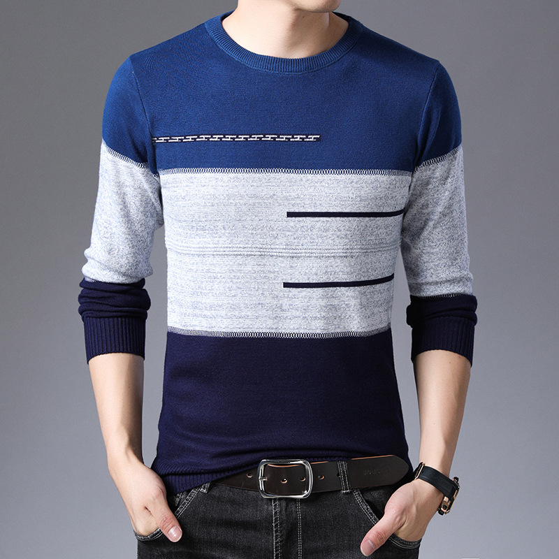 2019 Autumn Winter Pullover Men Round Collar Striped  Cotton Sweaters Slim Fit Pull Homme Knitwear