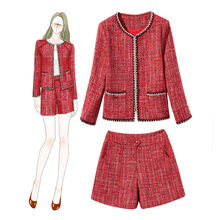 Tweed Short Suits Women 2020 New Arrival Autumn Winter 2 Two Piece Set Wool Woolen Luxury Blazer Jacket Coat Tops Shorts Outfits(China)