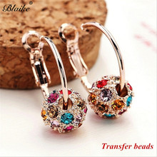 Blaike Austrian Crystal Ball 18K Gold Filled Dangle Earrings Lucky Transfer Beads Circle Hoop Womens Exquisite Jewelry