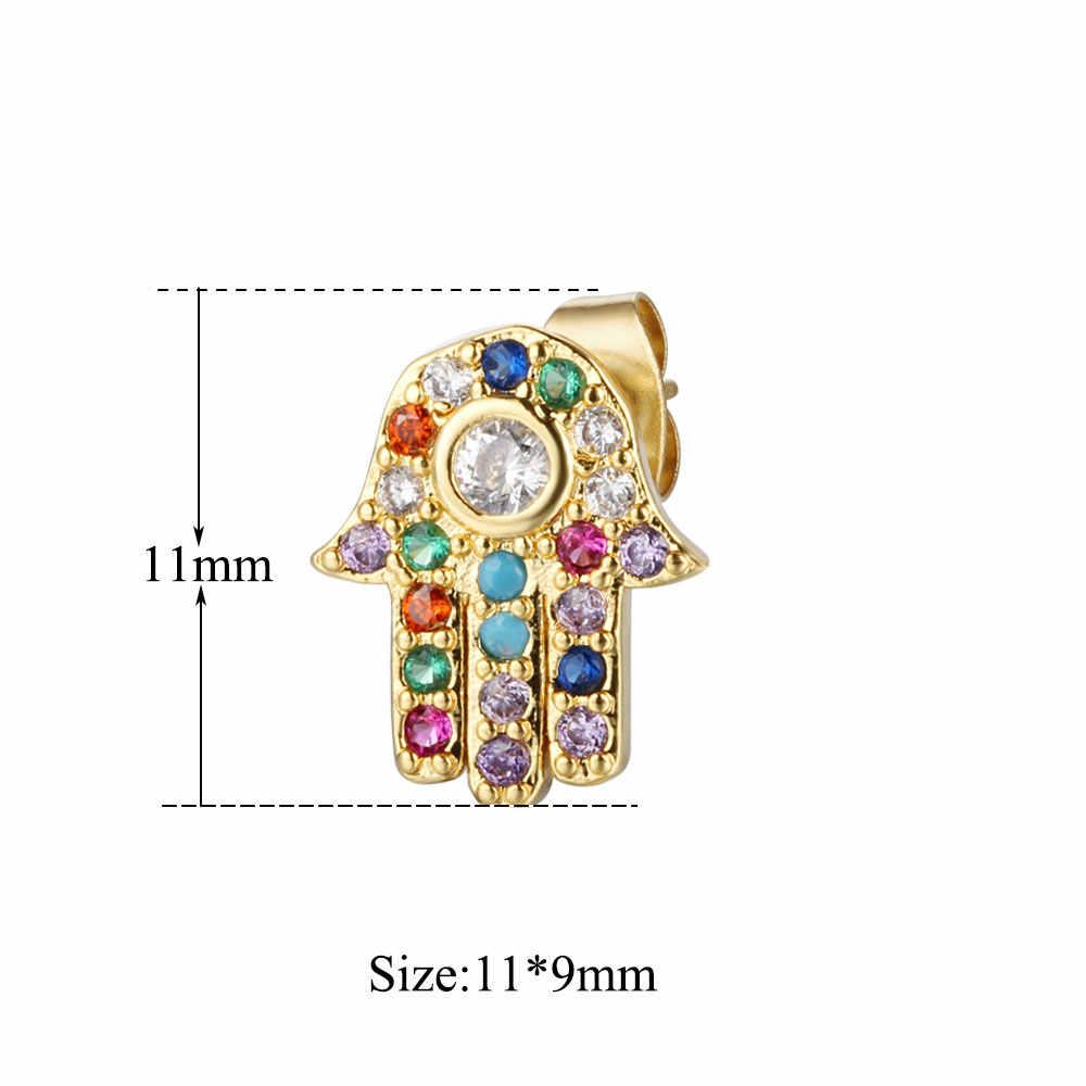 100% prawdziwe Micro Pave Hamsa Hand kolorowe CZ stadniny kolczyki dla kobiet klasyczna damska biżuteria modne kolczyki szpilki dla kobiet