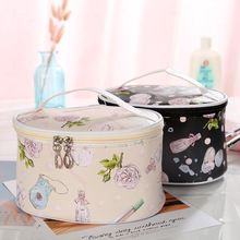 HJKL Travel PU Cosmetic Bags Women Flower Zipper Makeup Bags Organizer Bath Wash Lady Make Up Tote Handbags Case new arrival travel pvc cosmetic bags women transparent clear zipper makeup bags organizer bath wash make up tote handbags case