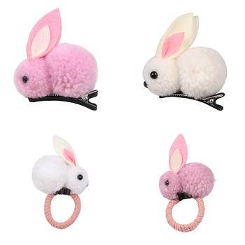 Koreański Cute Ball sierść królika pierścień dziewczyny krawat liny elastyczne gumki do włosów Bunny gumka do włosów biżuteria dla dzieci akcesoria do prezentów tanie i dobre opinie Poliester Nakrycia głowy Elastyczne opaski do włosów Moda Zwierząt Hair ring Lovely fashion Cartoon rabbit White pink yellow green brown gray