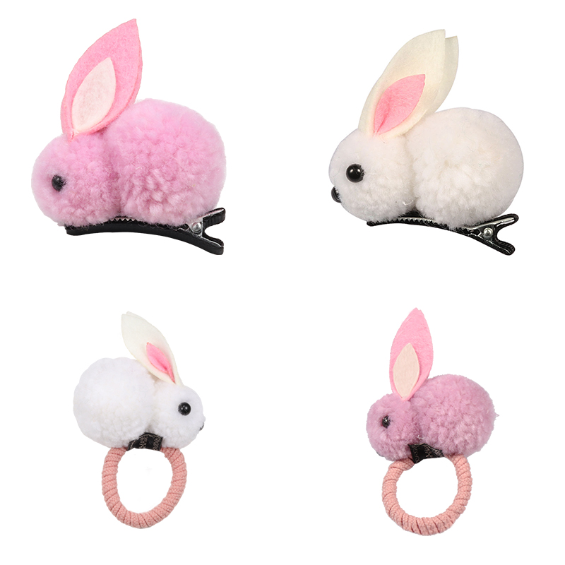 Korean Cute Ball Rabbit Hair Ring Girls Tie Rope Elastic Rubber Hair Bands Bunny Hair Rope Hair Jewelry Kids Gift Accessories