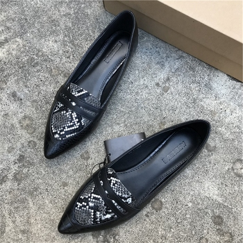 Animal Print Flat Shoes Women Plus Size Slip On Loafers Point Toe Snake Shoes Casual Ballet Flats Comfort Driving Shoes Woman women flat ballet flats high quality shoes slip on plus size woman shoes fashion pointed toe luxury brand design ladies loafers