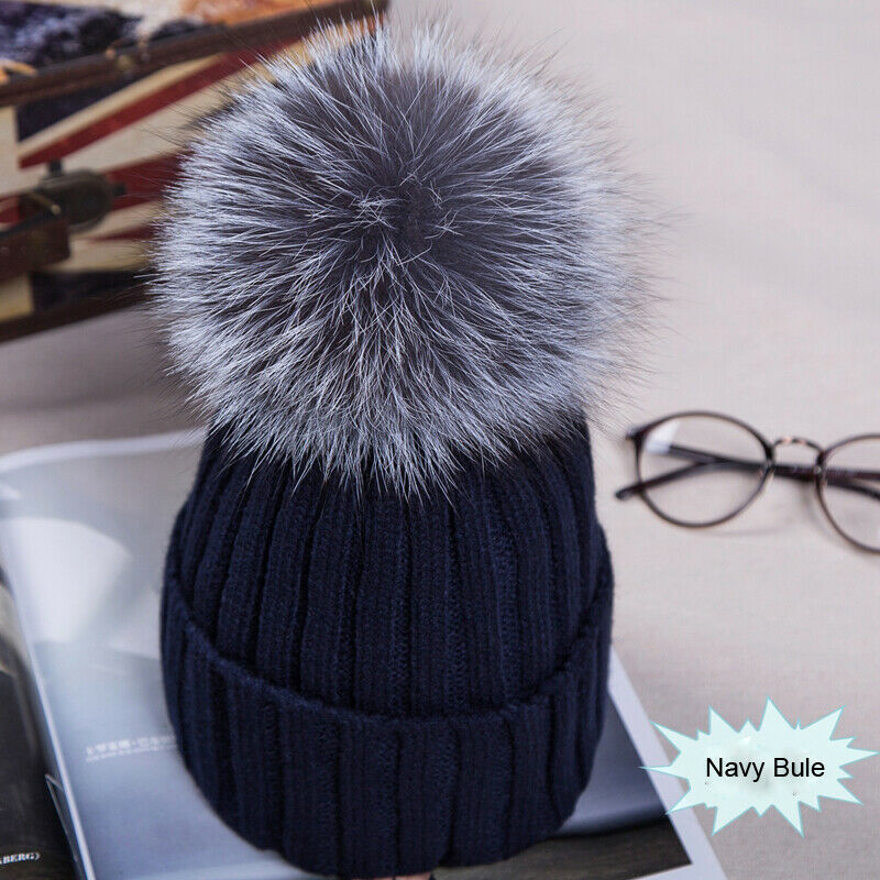 Meihuida Winter Women Pom Pom Beanies Warm Soft Knitted Bobble Girl Fur Pompom Hats Fashion Real Raccoon Ski Wear