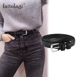 Cinturón Negro antiguo con hebilla de Metal para mujer, cinturón femenino de cuero artificial para Jeans, cinturón salvaje delgada para mujer, vestido ceñido en la cintura
