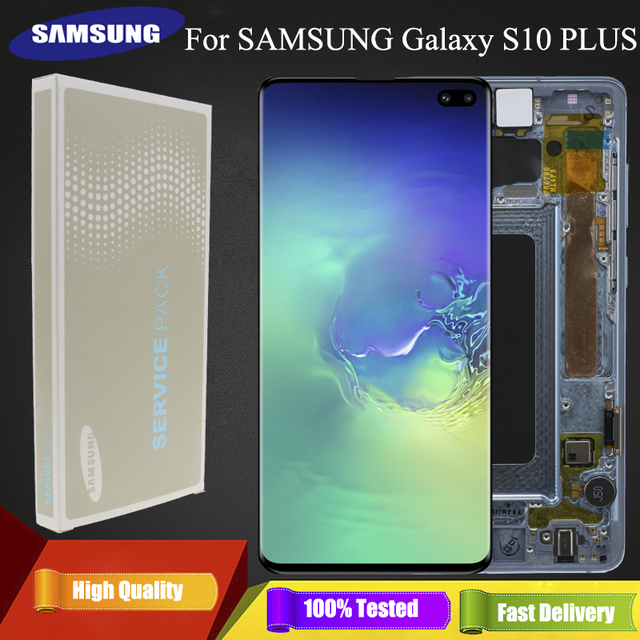 3040x1440 Original AMOLED 6,4 S10 PLUS LCD Für SAMSUNG Galaxy S10 + SM G9750 G975F Display Touchscreen digitizer Ersatz