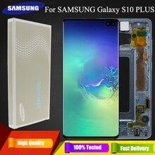 3040x1440 oryginalny AMOLED 6.4 S10 PLUS lcd do samsunga Galaxy S10 + SM G9750 G975F wyświetlacz dotykowy zamiana digitizera ekranu