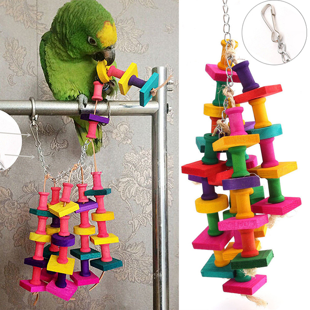 Manyo Birds Parrot Toys Natural Wooden Grass Chewing Bite Hanging Cage Bell Swing Climb