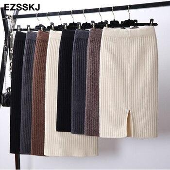 60-80CM Elastic Band Women Skirts Autumn Winter Warm Knitted Straight Skirt Ribbed Ribbed Mid-Long Skirt Black 1