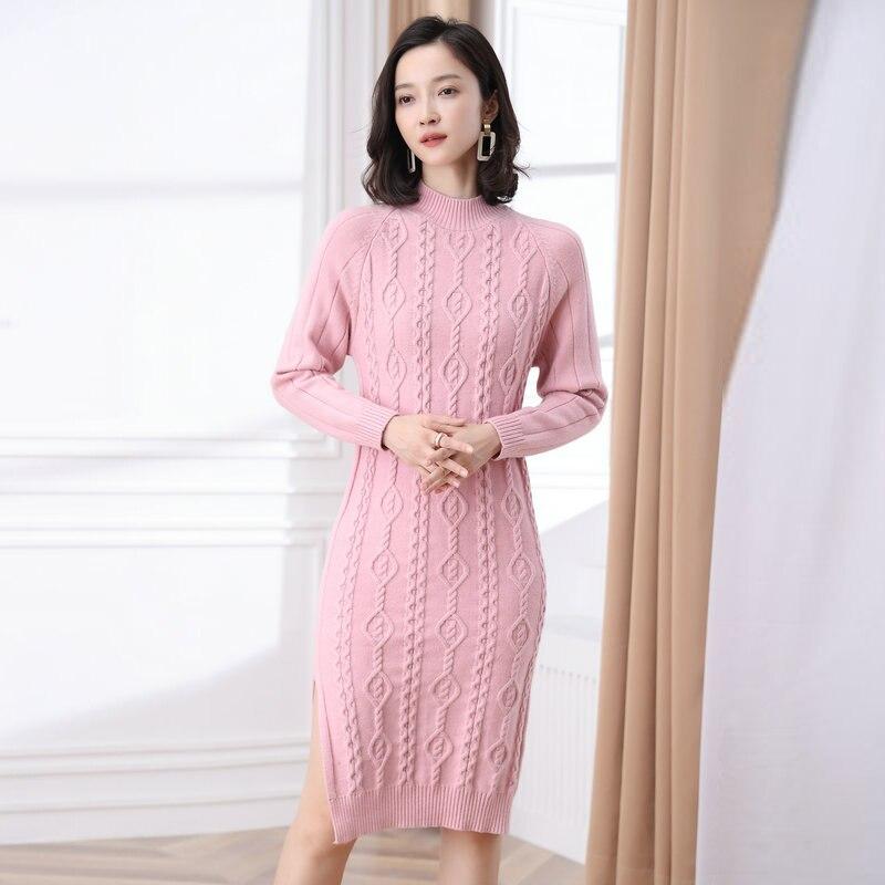 Femmes sculpté tricot robes automne Slim Fit une pièce tricots genou longueur multicolore côté fente robe femme tressé vêtement