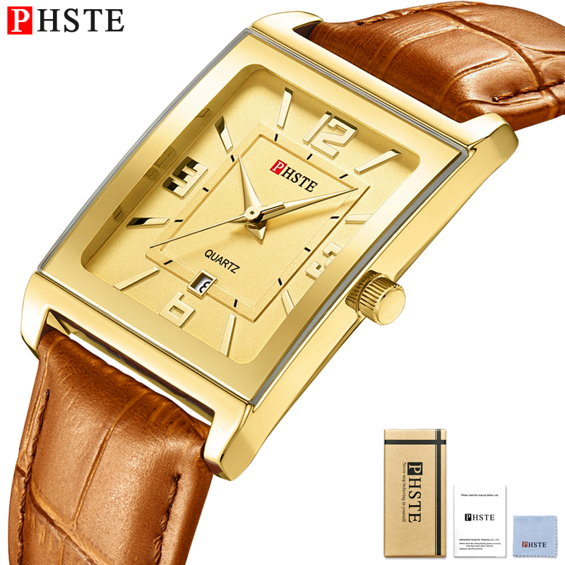 PHSTE Brand Luxury Mens Watch Quartz Japan Movt Date Genuine Leather Small Square Gold Brown Strap Dress Male Wrist Watch Golden
