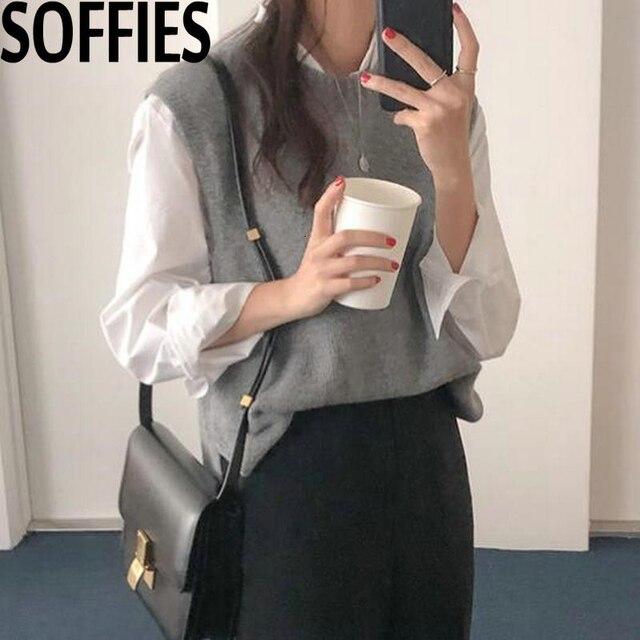 2019 Autumn Beige Round Neck Sleeveless Knitting Vest Korean Fashion Sleeveless Sweaters Gray Color Waistcoat