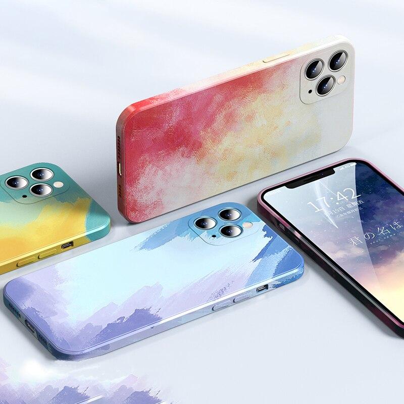 Silicone líquido de luxo quadrado aquarela caso para apple iphone 11 12 pro max x xr xs max painti colorido gradiente capa macia|Estojos p/ carteira|   -
